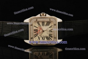 Cartier TriCAR397 Santos 100 Large Black Leather Steel Diamond Watch