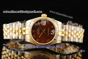 Rolex TriROL290 Datejust Brown Dial Two Tone Watch