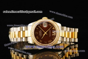 Rolex TriROL296 Datejust Brown Dial Two Tone Watch