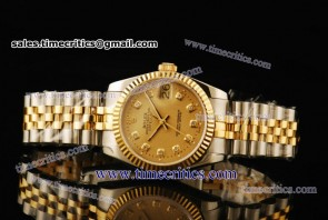 Rolex TriROL307 Datejust Gold Dial Two Tone Watch