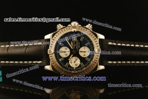 Breitling Chronomat Evolution TriBRL581 Black Leather Steel Watch