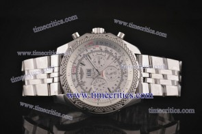 Breitling TriBrlb014 Bentley 6.75 White Dial Stick Markers Steel Watch