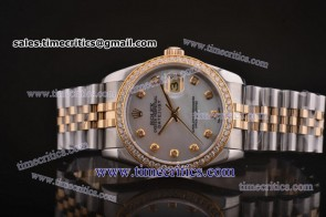 Rolex TriROL135 Datejust White MOP Dial Two Tone Watch