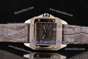 Cartier TriCAR401 Santos 100 Large Brown Leather Steel Watch
