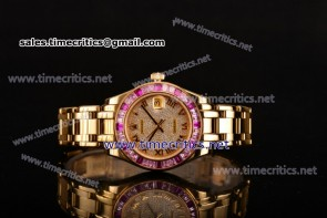 Rolex TriRO028 Datejust Pearlmaster 36mm Diamonds Dial Pink Sapphire Bezel Full Yellow Gold Watch (BP)
