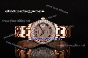 Rolex TriRO030 Datejust Pearlmaster 36mm Diamonds Dial Diamonds Bezel Full Rose Gold Watch (BP)