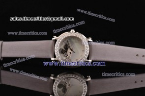Chopard Trichp284 Happy Sport - Mickey Gray Satin Steel Diamond Watch