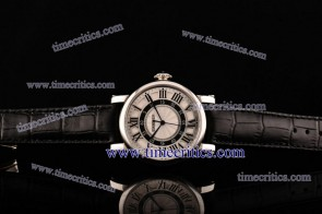 Cartier TriCAR393 Rotonde White Dial Black Leather Strap Steel Watch