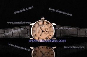 Cartier TriCAR356 Rotonde De Pink Dial Leather Strap Steel Watch