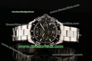Tag Heuer TriTAG89027 Aquaracer 500M Chrono Calibre 16 Black Dial Steel Watch (Z)