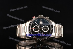 Tag Heuer TriTAG89037 Carrera Calibre 1887 Automatic Chronograph Black Dial Arabic Numeral Markers Full Steel Watch