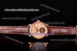 Vacheron Constantin TriVC89005 Patrimony Tourbillon Beige Dial Brown Alligator Rose Gold Watch