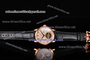 Vacheron Constantin TriVC89006 Patrimony Tourbillon White Dial Blue Alligator Rose Gold Watch