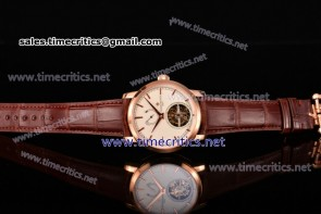Vacheron Constantin TriVC89007 Patrimony Tourbillon White Dial Brown Alligator Rose Gold Watch