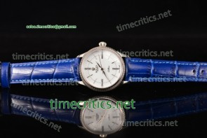 Rolex TriROX89110 Cellini Time White Dial Blue Leather Steel Watch