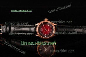 Rolex TriROX89124 Cellini Time Black/Red Dial Black Leather Rose Gold Watch