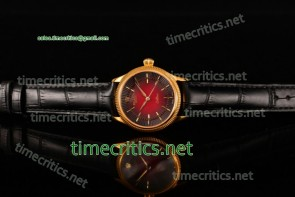 Rolex TriROX89125 Cellini Time Red Dial Black Leather Yellow Gold Watch