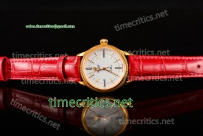 Rolex TriROX89128 Cellini Time White Dial Red Leather Yellow Gold Watch