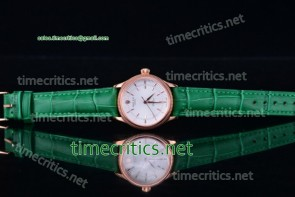 Rolex TriROX89129 Cellini Time White Dial Green Leather Rose Gold Watch