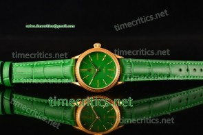 Rolex TriROX89132 Cellini Time Green Dial Green Leather Yellow Gold Watch