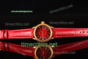 Rolex TriROX89133 Cellini Time Red Dial Red Leather Yellow Gold Watch
