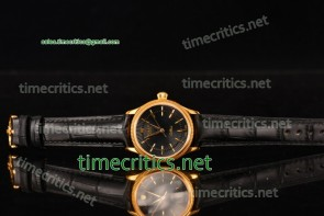 Rolex TriROX89134 Cellini Time Black Dial Black Leather Yellow Gold Watch
