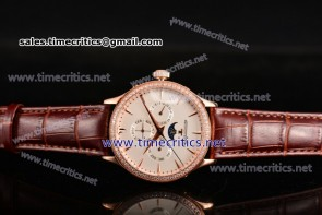 Jaeger-LECoultre TriJL89013 Master Perpetual Calendar White Dial Diamonds Bezel Rose Gold Watch