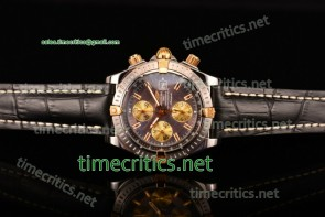 Breitling TriBRL89083 Chronomat Evolution Chronograph Grey Dial Black Leather Steel Watch (BP)