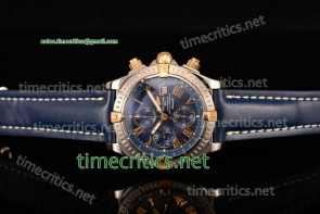 Breitling TriBRL89084 Chronomat Evolution Chronograph Blue Dial Blue Leather Steel Watch (BP)