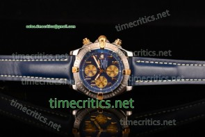 Breitling TriBRL89085 Chronomat Evolution Chronograph Blue Dial/Leather Steel Watch (BP)