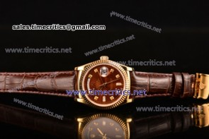Rolex TriROX89168 Day-Date Brown Dial Diamonds Markers Brown Leather Yellow Gold Watch (BP)
