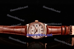 Rolex TriROX89177 Day-Date White Dial Diamonds Markers Brown Leather Rose Gold Watch (BP)