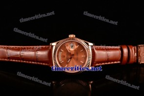 Rolex TriROX89178 Day-Date Rose Gold Dial Stick Markers Brown Leather Rose Gold Watch (BP)