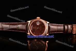 Rolex TriROX89179 Day-Date Brown Dial Roman Numeral Markers Brown Leather Rose Gold Watch (BP)