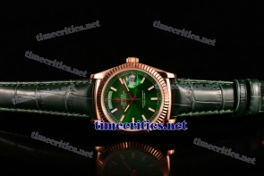Rolex TriROX89180 Day-Date Green Dial Stick Markers Green Leather Rose Gold Watch (BP)