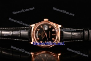 Rolex TriROX89181 Day-Date Black Dial Diamonds Markers Black Leather Rose Gold Watch (BP)