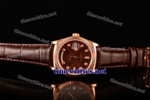 Rolex TriROX89184 Day-Date Brown Dial Diamonds Markers Brown Leather Rose Gold Watch (BP)