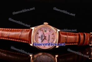 Rolex TriROX89186 Day-Date Pink MOP Dial Diamonds Markers Brown Leather Rose Gold Watch (BP)