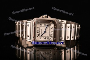 Cartier TriCAR89095 Santos De Cartier Galbee White Dial Full Steel Watch