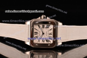 Cartier TriCAR89124 Santos 100 Large White Dial White Leather Steel Watch
