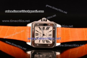 Cartier TriCAR89125 Santos 100 Large White Dial Orange Leather Steel Watch