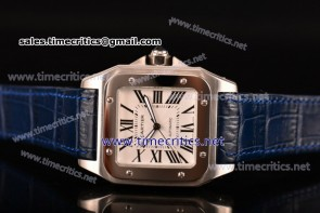 Cartier TriCAR89126 Santos 100 Large White Dial Blue Leather Steel Watch