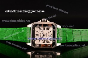 Cartier TriCAR89127 Santos 100 Large White Dial Green Leather Steel Watch