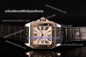 Cartier TriCAR89128 Santos 100 Large White Dial Black Leather Steel Watch