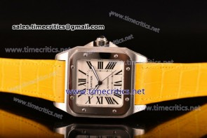 Cartier TriCAR89129 Santos 100 Large White Dial Yellow Leather Steel Watch