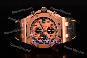Audemars Piguet TriAP89252 Royal Oak Offshore Chronograph Rose Gold Dial Black Leather Rose Gold Watch (J12)