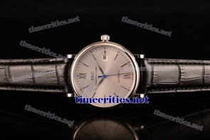 IWC TriIWC89100 Portofino Silver Dial Black Leather Steel Watch