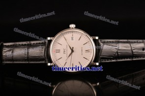 IWC TriIWC89101 Portofino White Dial Black Leather Steel Watch