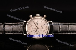 IWC TriIWC89103 Portofino Chrono White Dial Black Leather Steel Watch
