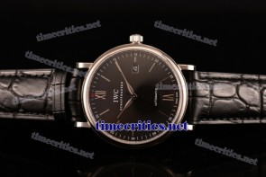 IWC TriIWC89104 Portofino Black Dial Black Leather Steel Watch